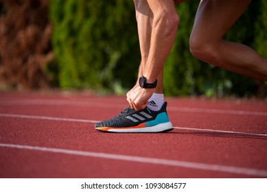BRATISLAVA, SLOVAKIA - MAY, 15, 2018: Adidas Solar boost, brand new running shoes on track. Mens version.