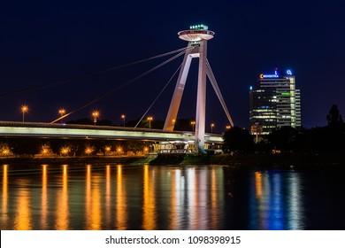 Bratislava, Slovakia May 23, 2018: New bridge (Most SNP) in Bratislava at night.  Bridge of the Slovak National Uprising or the UFO Bridge is a road bridge over the Danube in Bratislava.