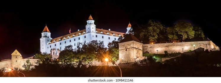 Bratislava, Slovakia May 23, 2018: Bratislava Castle or Bratislavsky Hrad is the main castle of Bratislava, capital of Slovakia by night. Bratislava Castle is located on rocky hill.