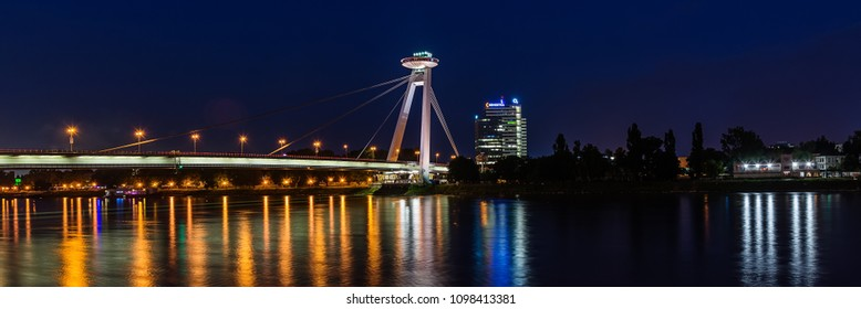 Bratislava, Slovakia May 23, 2018: New bridge (Most SNP) in Bratislava at night. Bridge of the Slovak National Uprising or the UFO Bridge is a road bridge over the Danube in Bratislava.