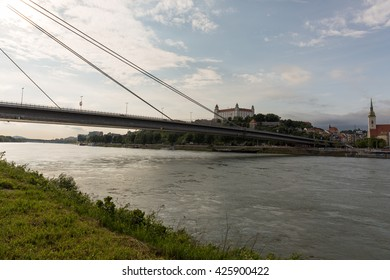 Bratislava, Slovakia - May 24, 2016 : Bratislava Castle closeup with Danube river & St. Martin cathedral