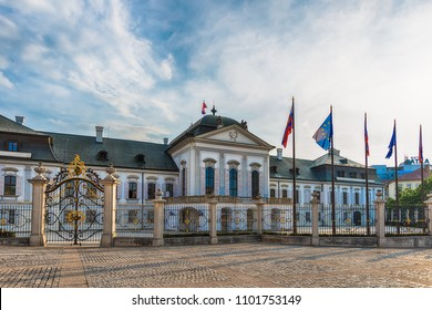 Bratislava, Slovakia - May 24, 2018: Grassalkovich Palace with the Monument Worldglobe in Bratislava - official residence of the Slovak President.