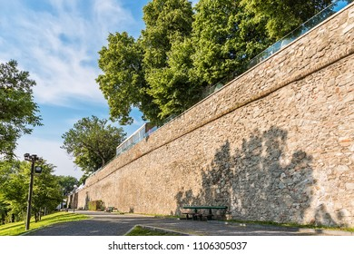Bratislava, Slovakia May 24, 2018: Bratislava, Slovakia May 24, 2018: Bratislava castle. Bratislavsky Hrad close-up panorama with no people in sunny day. Exterior view of the castle in Bratislava.