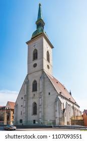 Bratislava, Slovakia May 24, 2018: Saint Martin's Cathedral, Bratislava (Slovakia).   St. Martin's Cathedral in Bratislava was built in 1221.