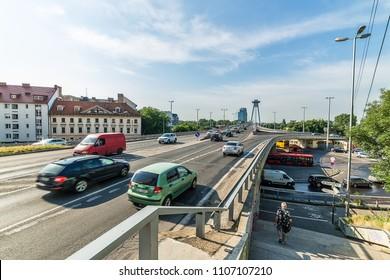 Bratislava, Slovakia May 24, 2018: Bridge of the Slovak National Uprising SNP and traffic in Bratislava town.
