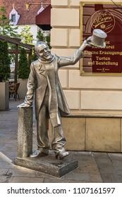 Bratislava, Slovakia - May 24, 2018: Street sculpture in the center of Bratislava