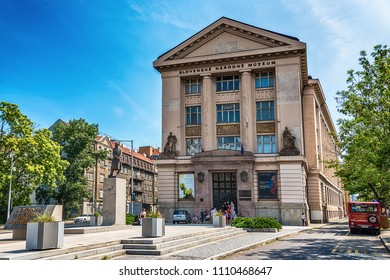 Bratislava, Slovakia - May 24, 2018:  Slovak National Museum and Masaryk Monument in Bratislava, Slovakia. It is the most important institution focusing on scientific research and cultural education.