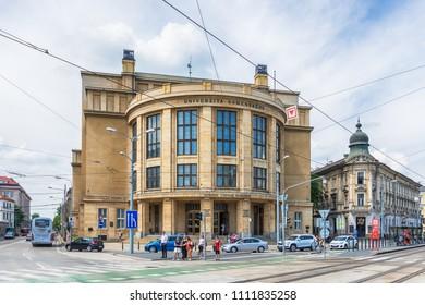 Bratislava, Slovakia - May 24, 2018: Faculty of Law, Comenius University in Bratislava.