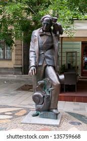 BRATISLAVA, SLOVAKIA - MAY 27. Statue of Hans Christian Andersen on May 27, 2009. in Bratislava. Bratislava is the capital of Slovakia, formerly part of Czechoslovakia Socialist Republic.