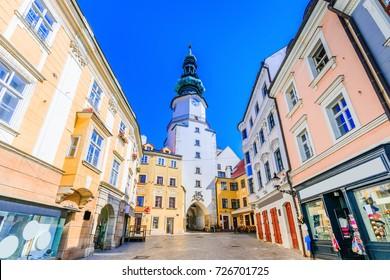 Bratislava, Slovakia. Medieval Saint Michael Gate tower.