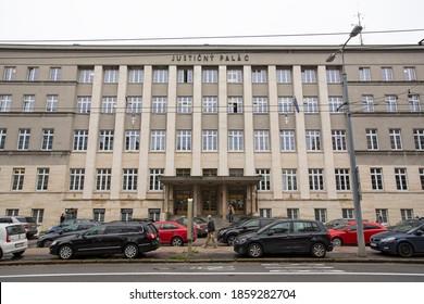 Bratislava, Slovakia - November 02 2020: Judicial Palace with prison in Bratislava, Slovakia. Justicny palac Bratislava, Slovensko