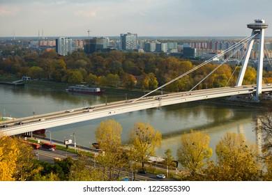 BRATISLAVA, SLOVAKIA - NOVEMBER 03, 2017: Panorama of Most SNP, longest cable-stayed road bridge in autumn