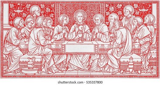 BRATISLAVA, SLOVAKIA, NOVEMBER - 21, 2016: The lithography of Last Supper in Missale Romanum by unknown artist with the initials F.M.S from end of 19. cent. and printed by Typis Friderici Pustet.