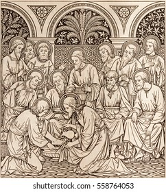BRATISLAVA, SLOVAKIA, NOVEMBER - 21, 2016: The lithography of Last Supper in Missale Romanum by unknown artist with the initials F.M.S  (1890) and printed by Typis Friderici Pustet.