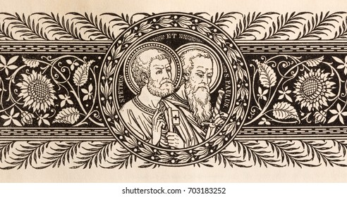 BRATISLAVA, SLOVAKIA, NOVEMBER - 21, 2016: The lithography of St. Peter and Paul in Missale Romanum by unknown artist with initials F.M.S (19. cent.) and printed by Typis Friderici Pustet.