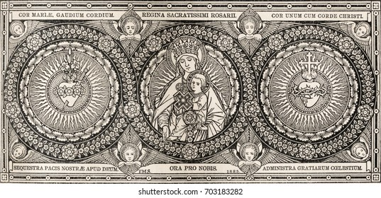 BRATISLAVA, SLOVAKIA, NOVEMBER - 21, 2016: The lithography of Madonna and heards of Jesus and Mary in Missale Romanum by artist with the initials F.M.S  (1885) and printed by Typis Friderici Pustet.