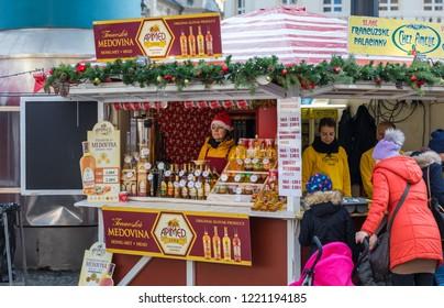 Bratislava, Slovakia - November 25, 2017: View on Christmas market on the Main square in Bratislava,Slovakia. Stara radnica and Bratislava Christmas Market.