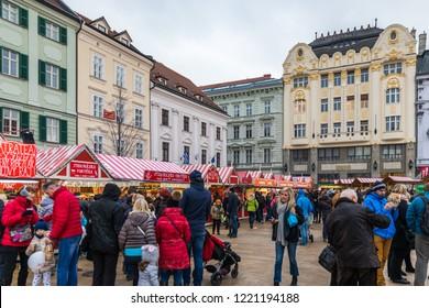 Bratislava, Slovakia - November 25, 2017: View on Christmas market on the Main square in Bratislava,Slovakia. Stara radnica and Bratislava Christmas Market