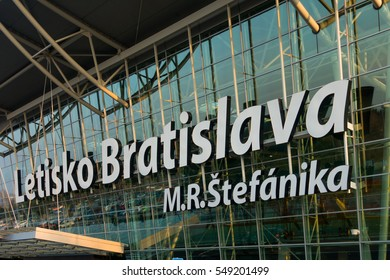 Bratislava, Slovakia - November 26, 2016: Panorama of airport building at day time