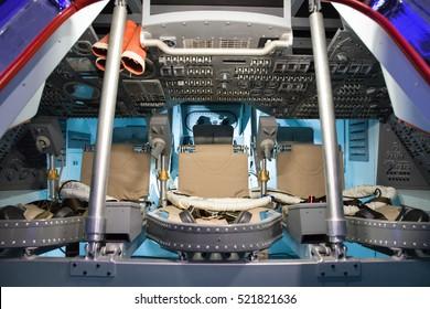 BRATISLAVA, SLOVAKIA - NOVEMBER 9: Cabin of spaceship Apollo - command module at exhibition Cosmos on November 9, 2016 in Bratislava