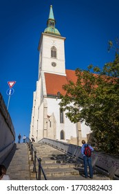 BRATISLAVA, SLOVAKIA - OCTOBER, 2019: St Martin Cathedral famous historical building in Bratislava, Slovakia