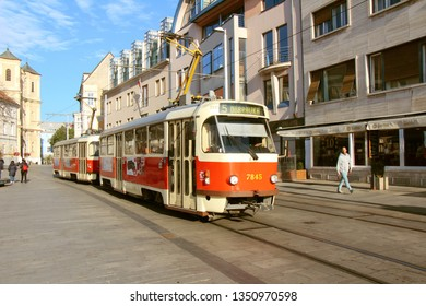 Bratislava, Slovakia - October, 21, 2018: Beautiful old train (Tram) in the calm streets of Bratislava, Slovakia