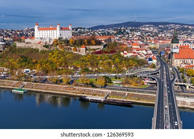 Bratislava, Slovakia, panoramic view with the castle and old town
