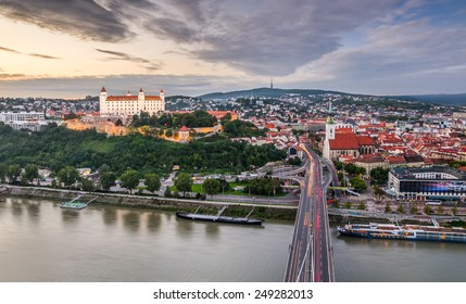 Bratislava, Slovakia - Panoramic View with the Castle and Old Town as Seen from Observation Deck the Bridge