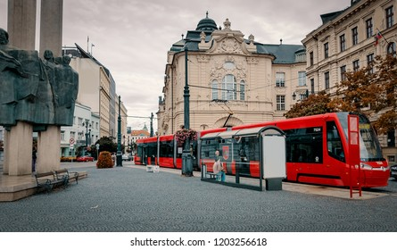 Bratislava, Slovakia - Sep 22, 2018: Ancient architecture cohabiting with modern elements. Autumn, cloudy.