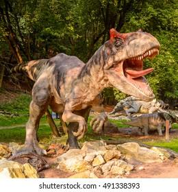 BRATISLAVA, SLOVAKIA - SEP 28, 2016: Allosaurus in DinoPark in Bratislava, Slovakia. Allosaurus is a genus of large theropod dinosaur