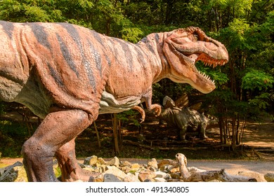 BRATISLAVA, SLOVAKIA - SEP 28, 2016: Tyrannosaurus Rex in DinoPark in Bratislava, Slovakia. Tyrannosaurus is a genus of coelurosaurian theropod dinosaur
