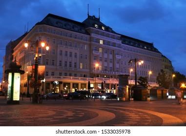 BRATISLAVA, SLOVAKIA - SEPTEMBER 02, 2019: View of Carlton hotel at Hviezdoslavovo namestie in the Old Town near Slovak National Theatre in the evening