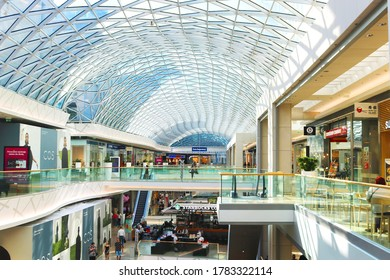 BRATISLAVA, SLOVAKIA - SEPTEMBER 03, 2019: Unidentified people in retail, business and residential complex Eurovea. Glass ceiling