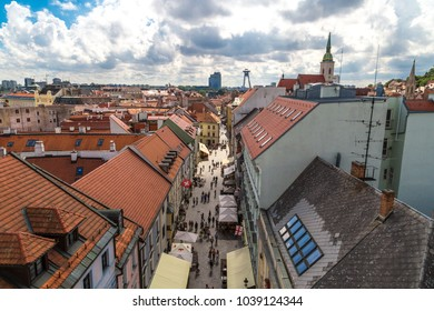BRATISLAVA, SLOVAKIA - SEPTEMBER 17, 2016 : Panoramic cityscape view of old town of Bratislava from historical clock tower, St. Micheal Gate which is the only city gate preserved from medieval time.