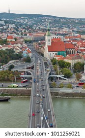 BRATISLAVA, SLOVAKIA - SEPTEMBER 26, 2017: Bratislava aerial cityscape with Old Town, Danube river, UFO bridge and St. Martin's Cathedral. Bratislava is one of the smaller capitals of Europe.