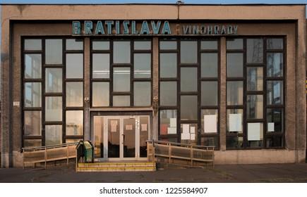Bratislava, Slovakia, September 3 2017.  The brutalist facade of the Vinohrady train station in Bratislava.