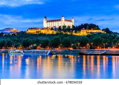 Bratislava, Slovakia. View of the Bratislava castle and Danube river at the twilight.