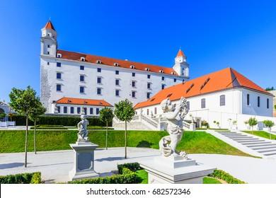 Bratislava, Slovakia. View of the Bratislava castle and its gardens.