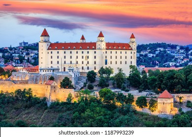 Bratislava, Slovakia. View of the Bratislava castle at the sunset.