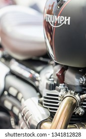 BRATISLAVA, SLOVAKIA-MARCH 15, 2019: Triumph Bonneville - motorcycles present at the motorcycle exhibition - detail fuel tank and Triumph sign. Motorcycle show Fair in Bratislava, Slovakia. Editorial.