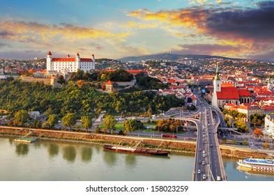 Bratislava at sunset - aerial view, Slovakia
