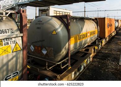 BRATISLAVA VAJNORY, SLOVAKIA - NOVEMBER 2016 - The train transports an environmentally hazardous substance