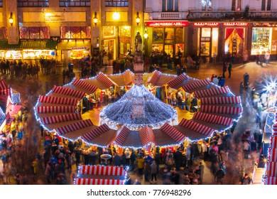 BRATISLAVA,SLOVAKIA-DECEMBER 17, 2017: View on main square and Christmas market in Bratislava, capital city of Slovakia.