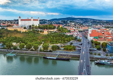 BRATISLAVA,SLOVAKIA-JULY 2, 2017: View on Bratislava castle,old town and Saint Martins cathedral over the river Danube in Bratislava,Slovakia