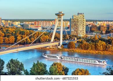 BRATISLAVA,SLOVAKIA-JULY 25, 2017: Bridge SNP over Danube river in Bratislava city,Slovakia