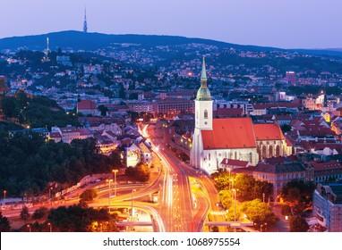 BRATISLAVA,SLOVAKIA-JUN 22, 2017: Bratislava castle, old town and Saint Martins cathedral over Danube river in Bratislava city, Slovakia