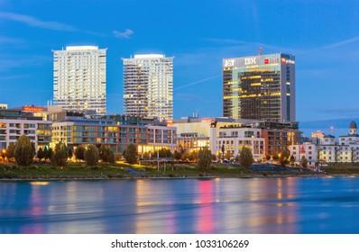BRATISLAVA,SLOVAKIA-OKTOBER 7, 2017: View on Bratislava city modern skyline and Danube river after sunset, Slovakia