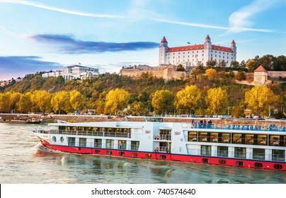 BRATISLAVA,SLOVAKIA-OKTOBER 7,2017: Bratislava city skyline and Danube river at the sunset, Bratislava, Slovakia