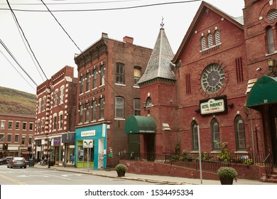 Brattleboro, Vermont - October 2nd, 2019:  Commercial stores and restaurants in the New England town of Brattleboro, Vermont.