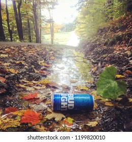 Brattleboro, VT/ America - 9/15/18 World Cleanup Day: trash and litter from roadsides and streams found during community environmental clean up.